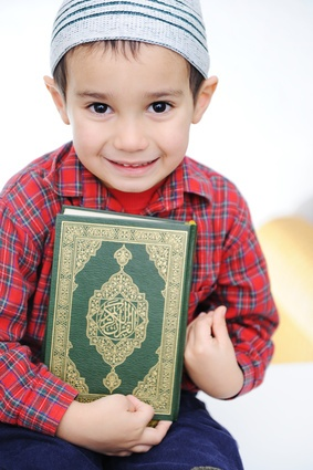 Learn Quran For Kids - Muslim kid with Quran