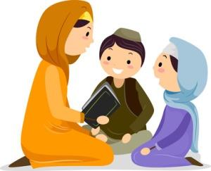 Kids Reading Quran with a female Quran teacher
