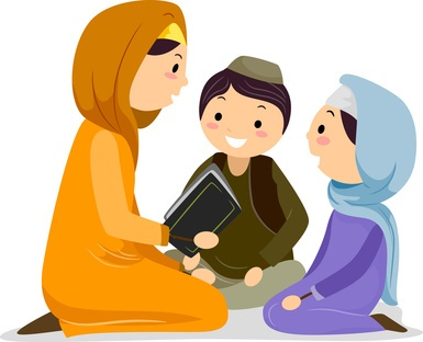 Kids Reading Quran with a female Quran teacher