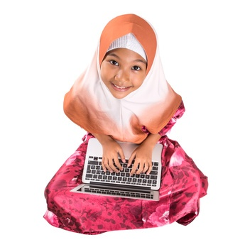 Learn Quran Kids - Young Muslim Girl With Laptop
